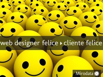 web designer felice, cliente felice